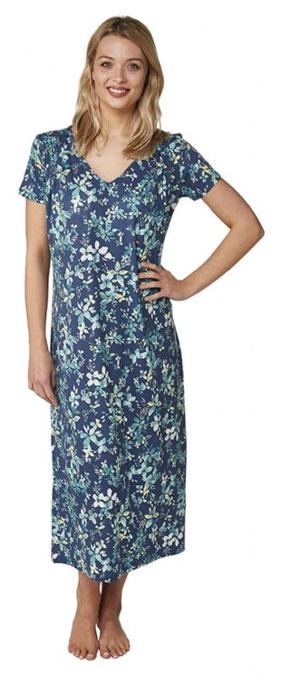 Ladies Criss Cross Nightie/Nightdress Short Sleeves Long Length Navy Floral 10 - 22